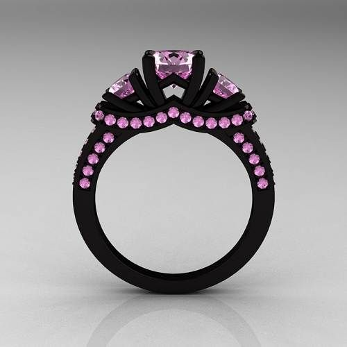 black gold purple stone engagement ring rings ideas black gold wedding rings - Colored Wedding Rings
