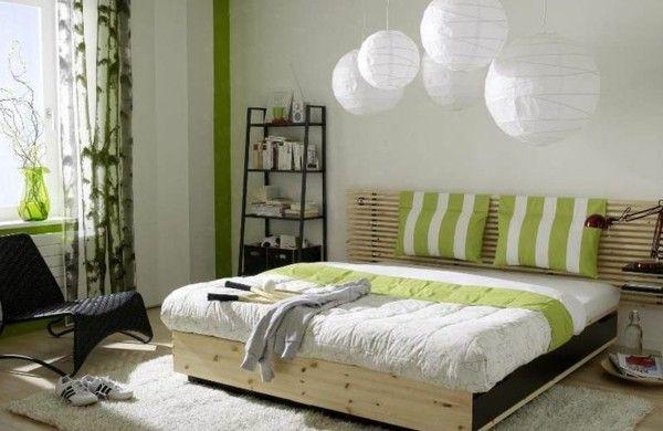 feng shui schlafzimmer farben grün holzmöbel bett teppich verlegen ...