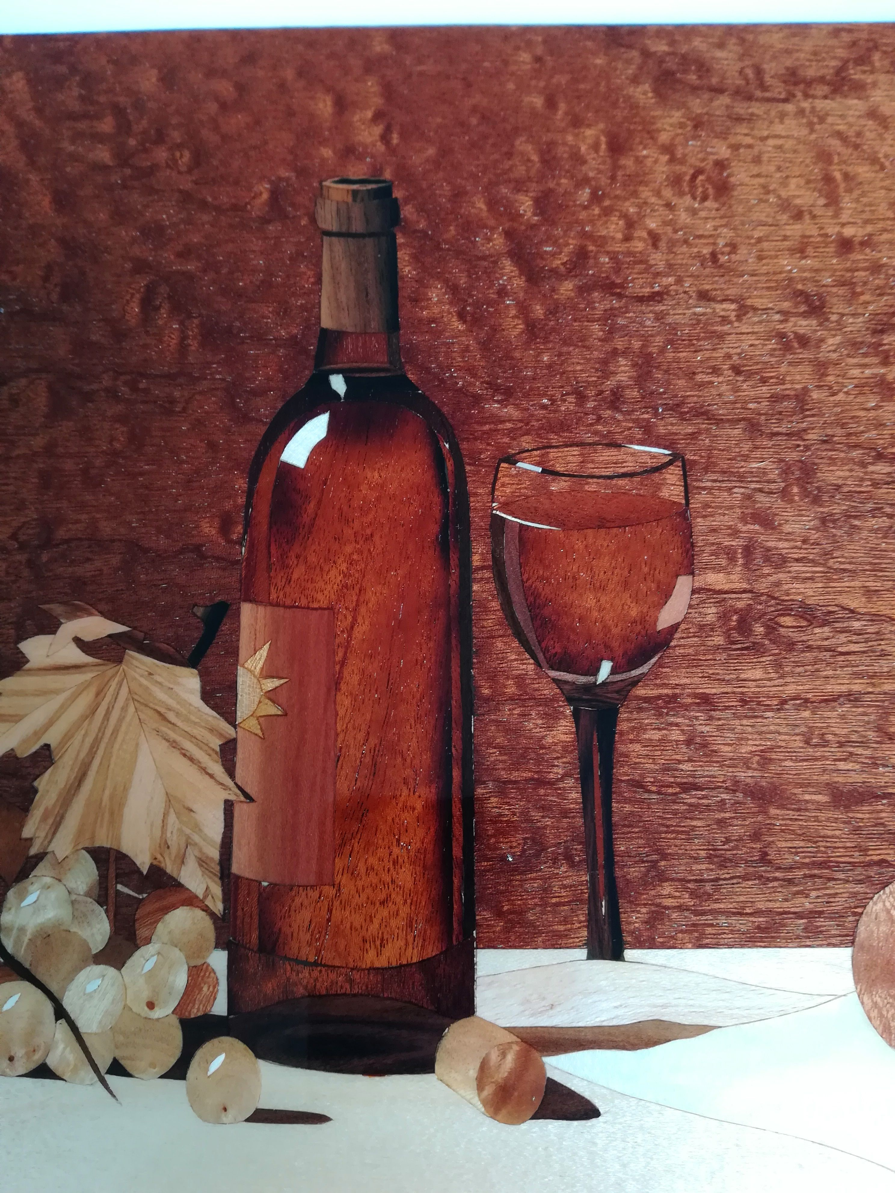 Quadro Intarsio Iperrealismo 100 Legni Naturali Pannello Etsy White Wine Wood Inlay Wood