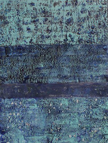 Encaustic Art - hot wax & mixed media, textured painting in lush blue green tones // Helen DeRamus