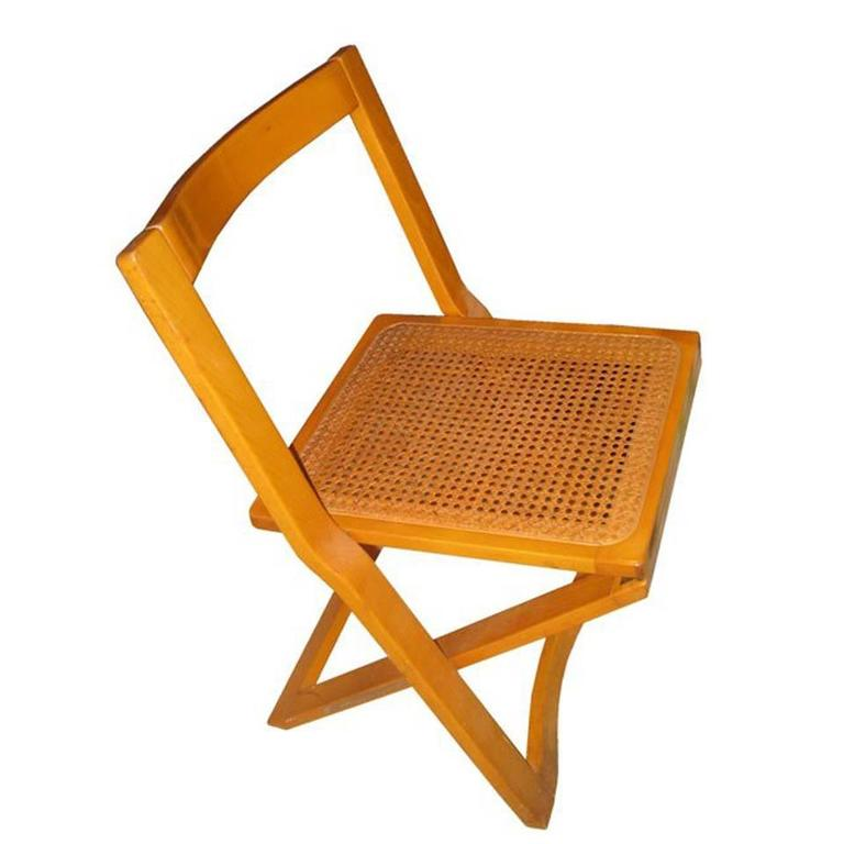 Mid Century Italian Set Of Four Caned Folding Chairs Folding