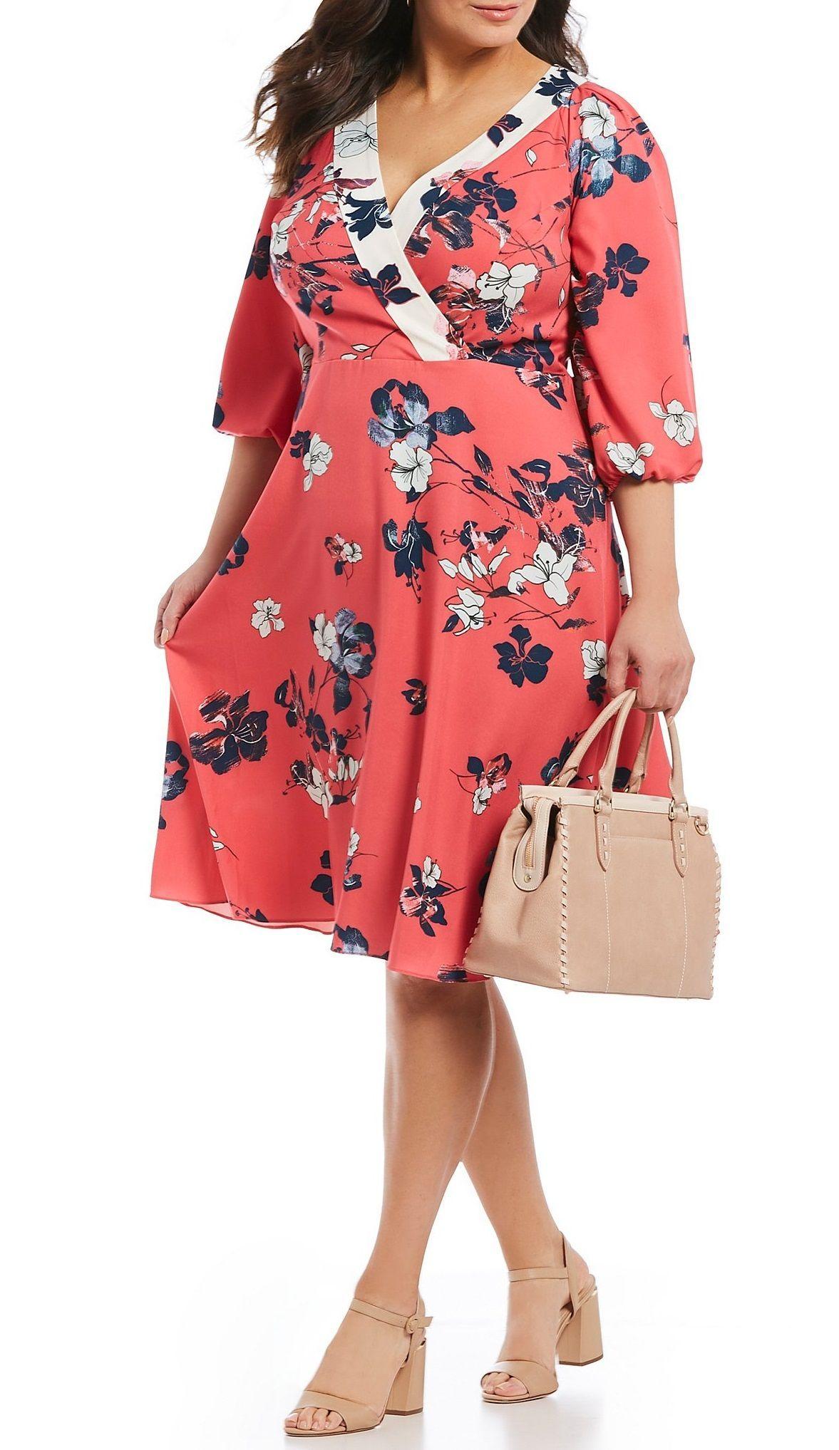 d8764921c36 Plus Size Floral Midi Dress