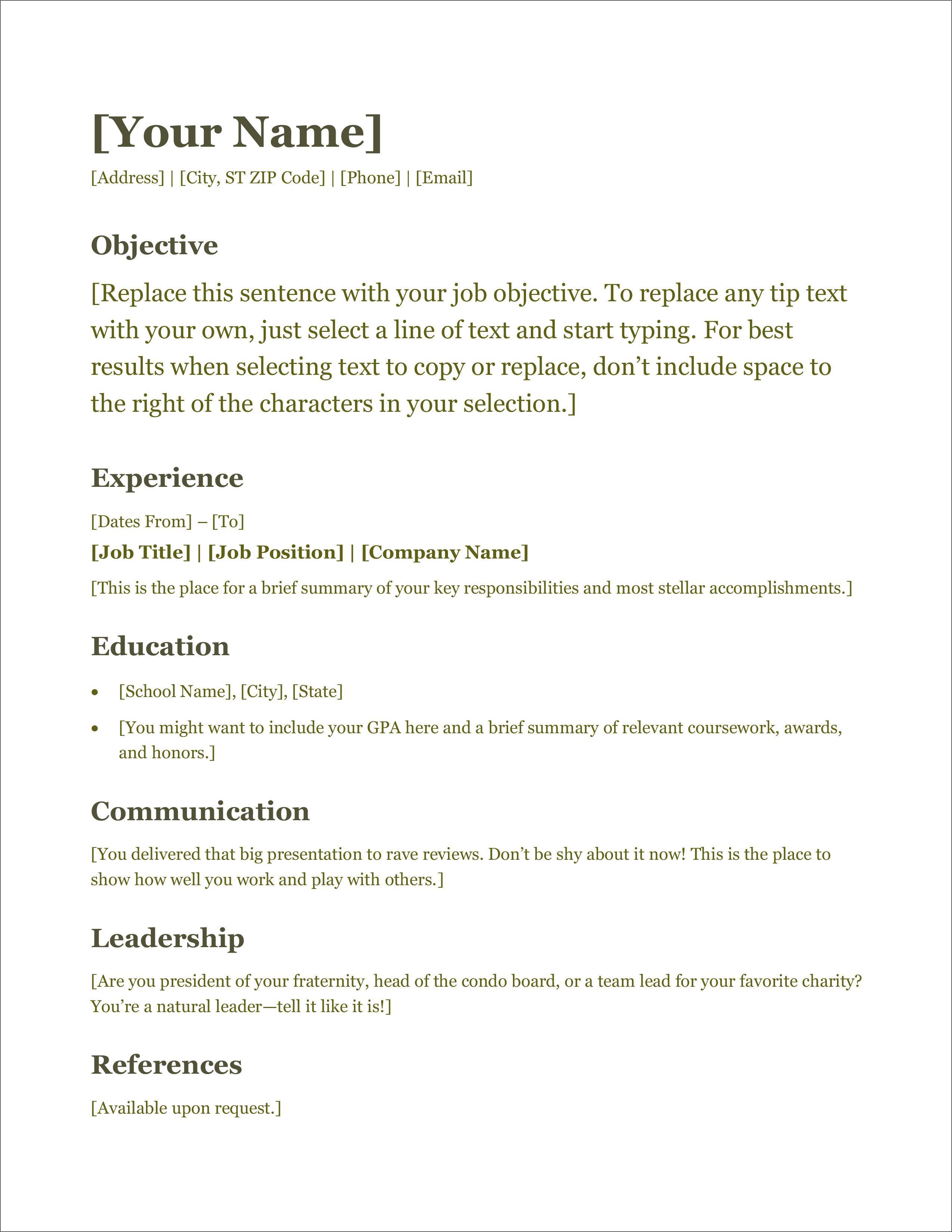 nuik noke Modern Simple Word Document Resume Templates in