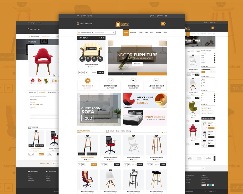 Awesome Online Retail Store Website Template Free PSD