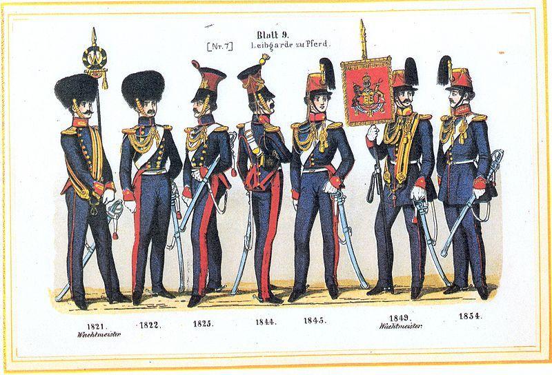 Plate 9: Leibgarde Horse, 1821-1854 by Leo Ignaz von Stadlinger - Geschichte des württembergischen Kriegswesens - Uniforms of the troops of Württemberg