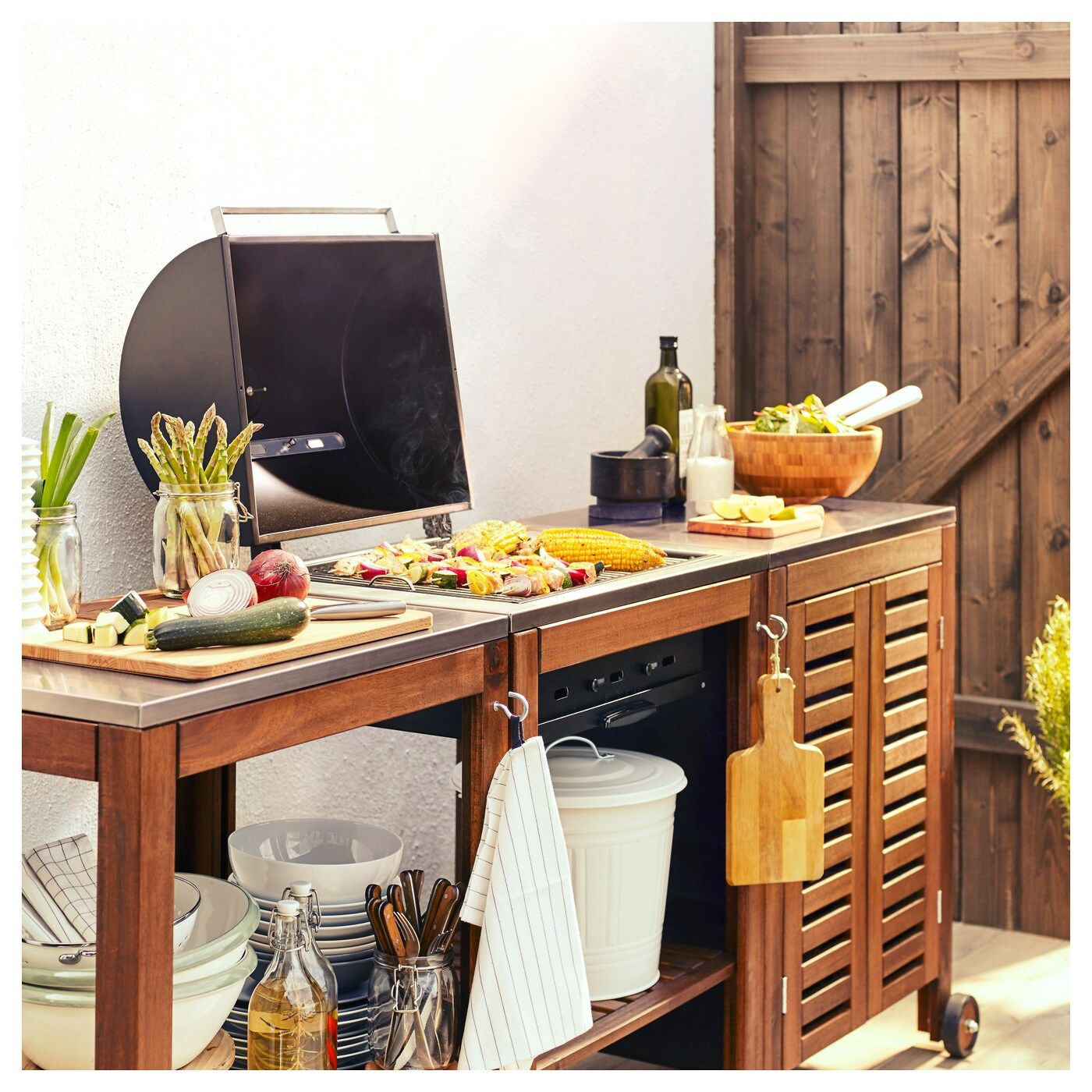 Applaro Klasen Charcoal Barbecue W Cart Cabinet Brown Stained Stainless Steel Color Ikea Ikea Outdoor Outdoor Kitchen Design Outdoor Kitchen