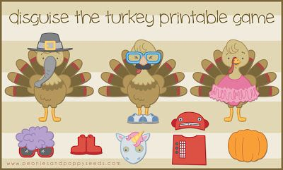 Disguise the Turkey Printable Game - free