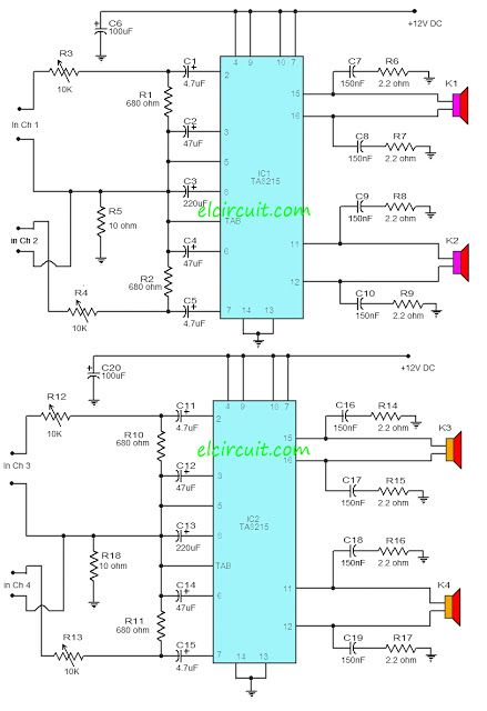 TA8215 4 Channel Power Amplifier CIrcuit in 2019 | Audio amplifier on car battery diagram, amp diagram, amplifier wiring diagram, 12 volt parallel battery wiring diagram, stereo amplifier diagram, amplifier symbol diagram, amplifier microphone, amplifier audio, amplifier installation, burglar alarm wiring diagram, microcontroller diagram, sound amplifier diagram, amplifier parts, pioneer stereo wiring diagram, bridge subwoofer wiring diagram, power amplifier diagram, car amplifier diagram, evoc course diagram, amplifier block diagram, car audio setup diagram,