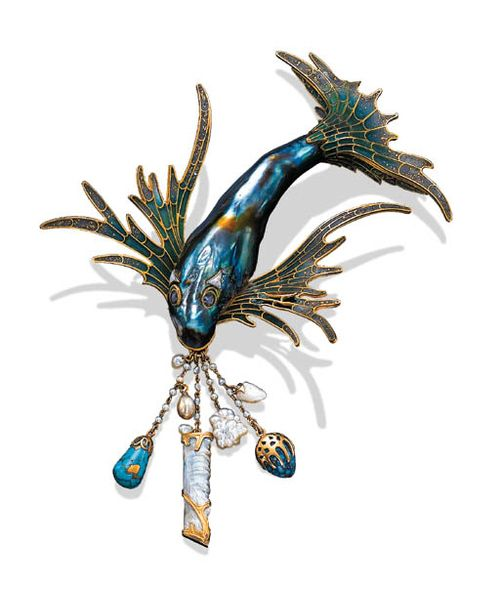 Georges Fouquet (1862 - 1957) , Brooch with Chatelaine, ca. 1901. Abalone Pearl and Plique-á-Jour Enamel