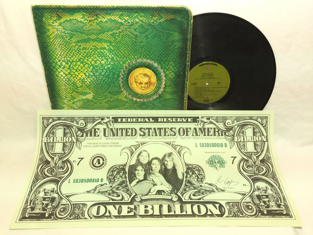 Alice Cooper Billion Dollar Baby Lp Vinyl Record Insert Bill Green Label Vinyl Records Billion Dollar Babies Lp Cover