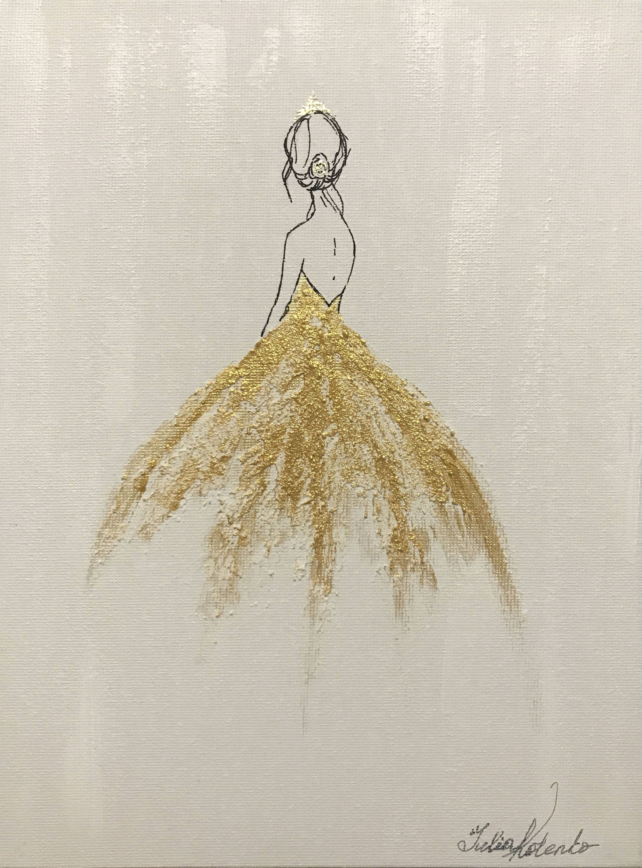 Girl Princess Painting Gold Painting On Watercolor Paper Wall Art