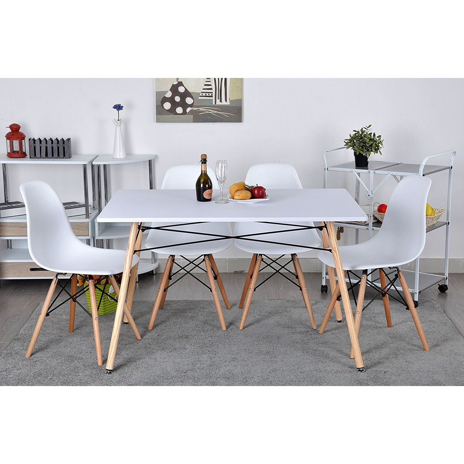 This Set of 4 Modern Armless Dining Chairs in White with