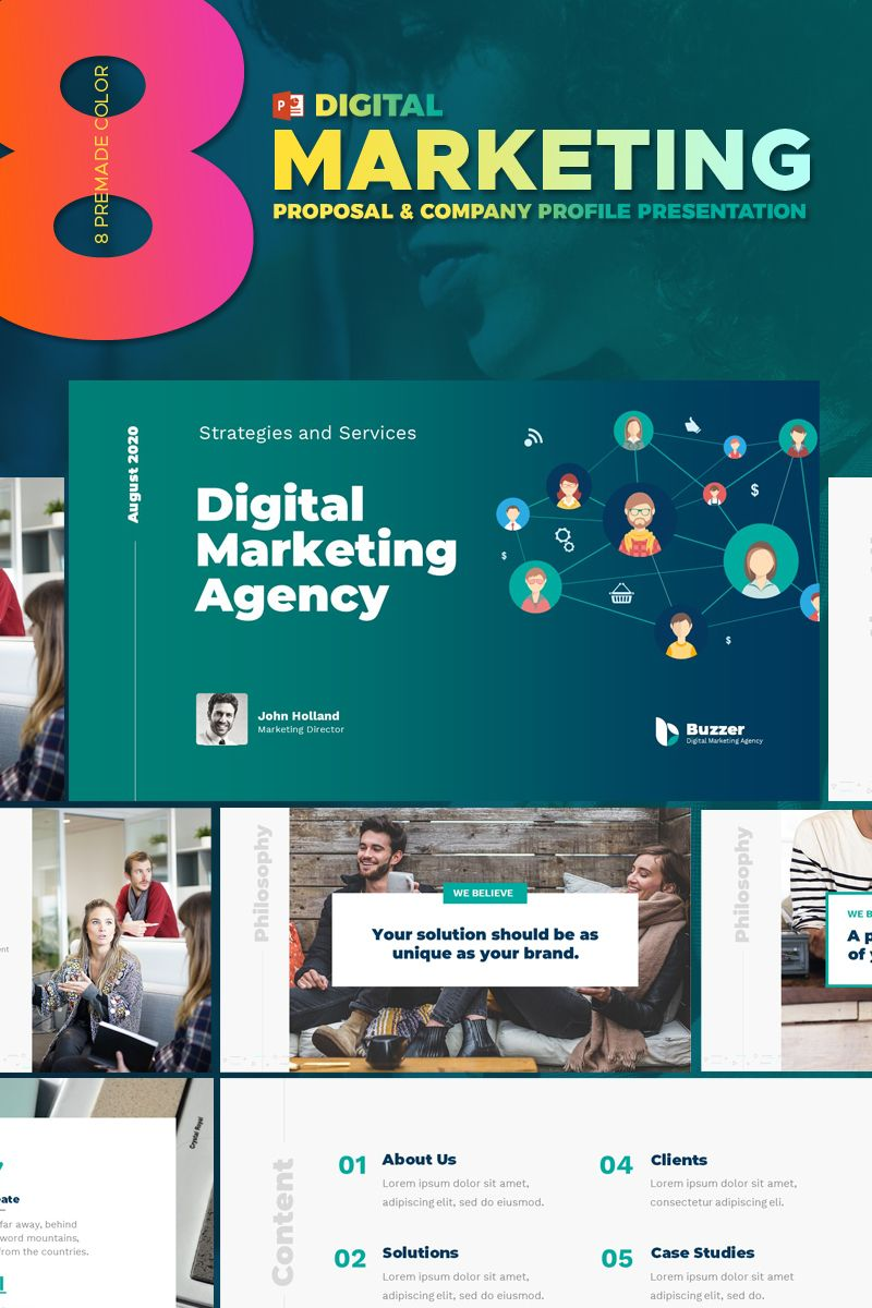 Digital Marketing Agency Powerpoint Template Powerpoint Marketing Digital Agen Digital Marketing Agency Digital Marketing Business Marketing Presentation