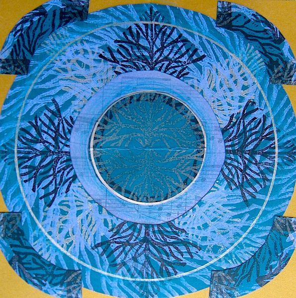 "Art collage, S.Ende-Saxe, ""Blue Branch Mandala""."