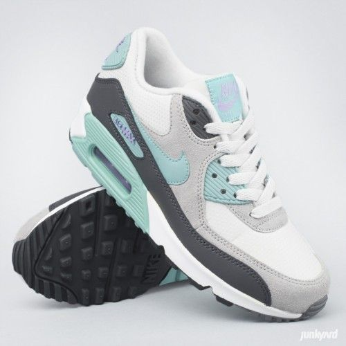 "Sko ""Air Max 90 Essential"" - Light Base Grey/Diffused Jade/Atomic Volt"