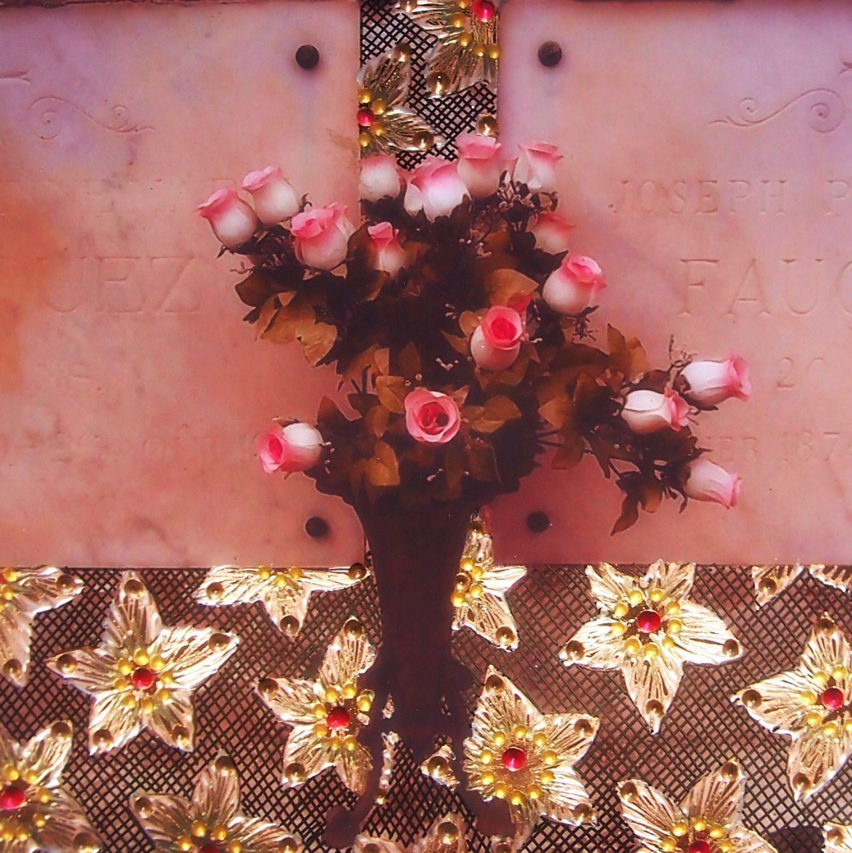 """Grave flowers, decorated photograph.Atelier Jen - """"Adorn"""" series."""