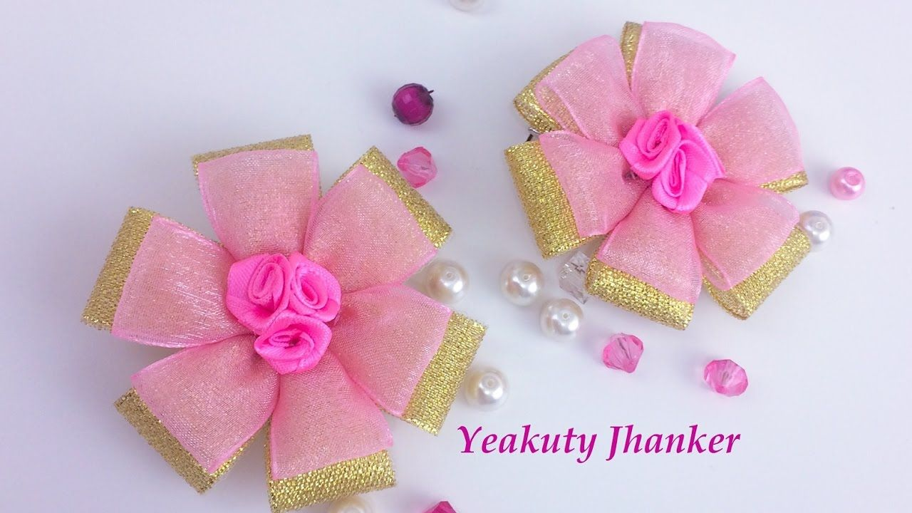 DIY: Ribbon flower hair clip/ Brooch