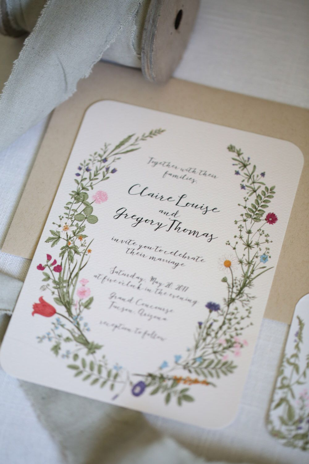 Wildflower Wedding Invitation set, Floral, Garden, calligraphy ...