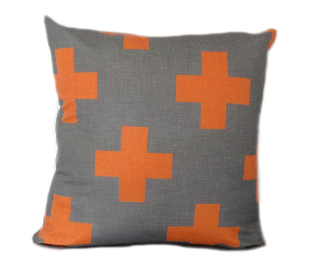 cushion, cushions, pillows, orange, tangerine, cross, orange cross, grey and orange, orange and charcoal, tangerine and grey