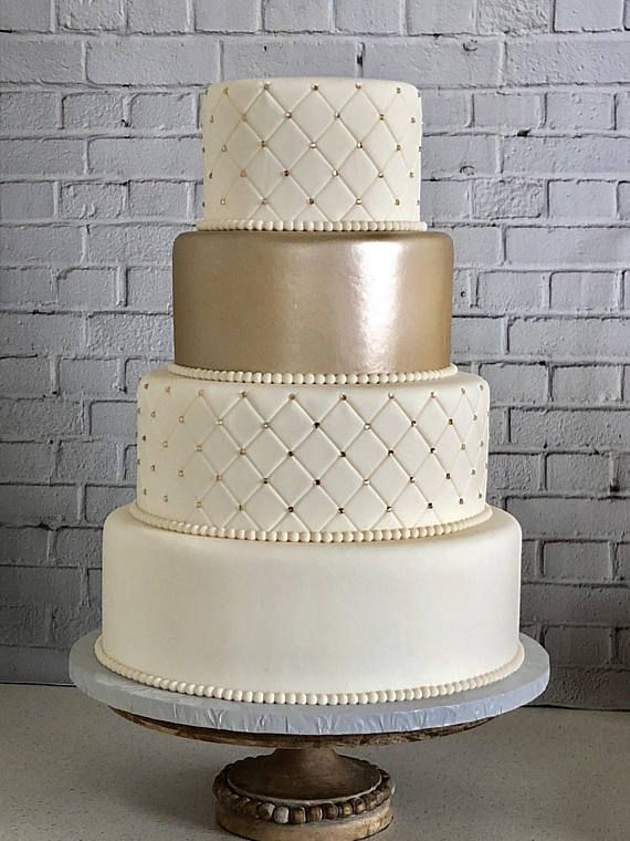 "Fake Wedding Cake, Four Tier Quilted Fondant Wedding Cake, Fake Wedding Cake, Faux Wedding Cake ""The Luna"""