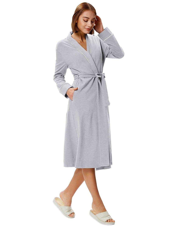 Women Long Robe Soft Kimono Warm Cotton Blend Bathrobe Lounge Robe ... 927d288ee