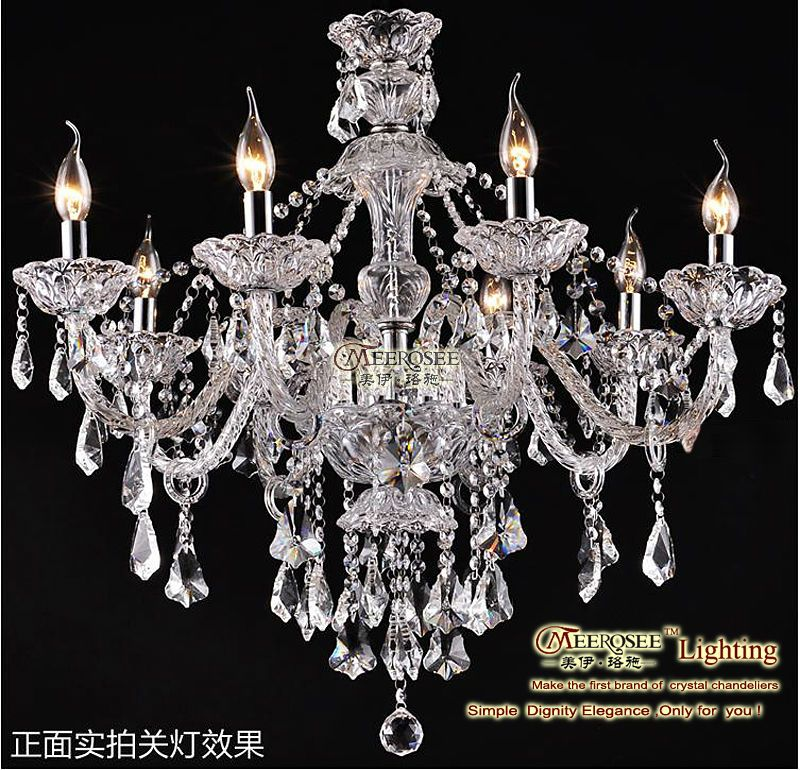 Free Shipping 2013 Modern Clear Crystal Chandelier Light With 8