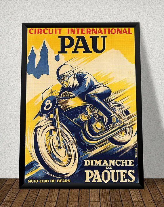 Affiche CIRCUIT INTERNATIONAL de PAU 1951 - Garage Atelier Vintage - Limited Edition