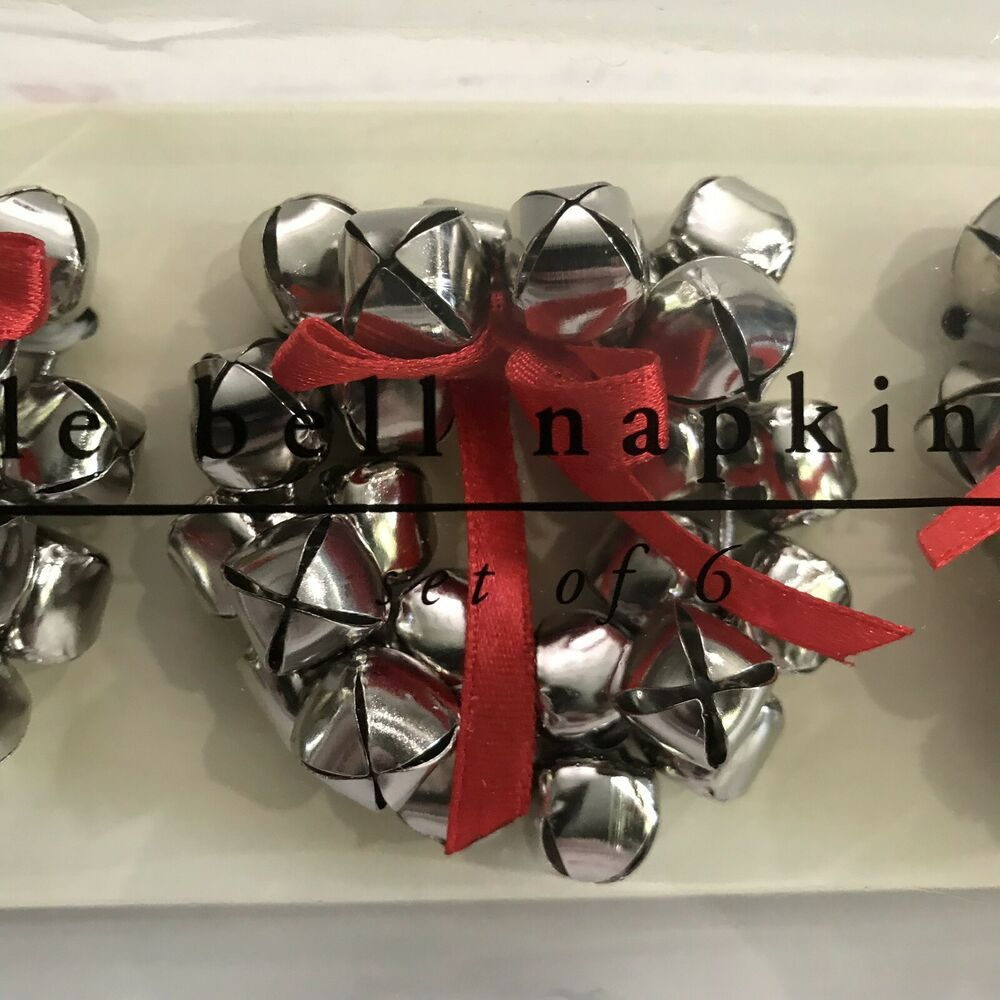 Pier 1 Christmas Napkin Rings Jingle Bells Wreaths Decorations Silver Red 6pc Pier1 Christmas Christmas Napkins Christmas Napkin Rings Wreath Decor