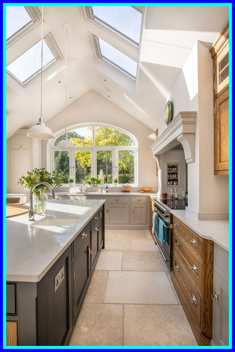 98 Reference Of Kitchen Cabinet To Ceiling Uneven In 2020 Skylight Kitchen Kitchen Extension Pitched Roof Vaulted Ceiling Kitchen