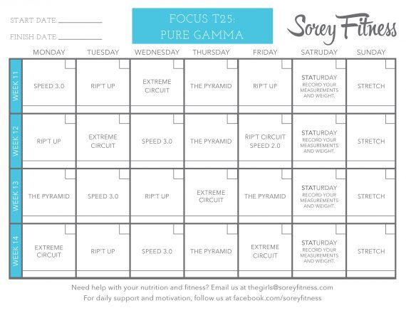 Focus T25 Review Shocking Results and Printable Workout Calendar