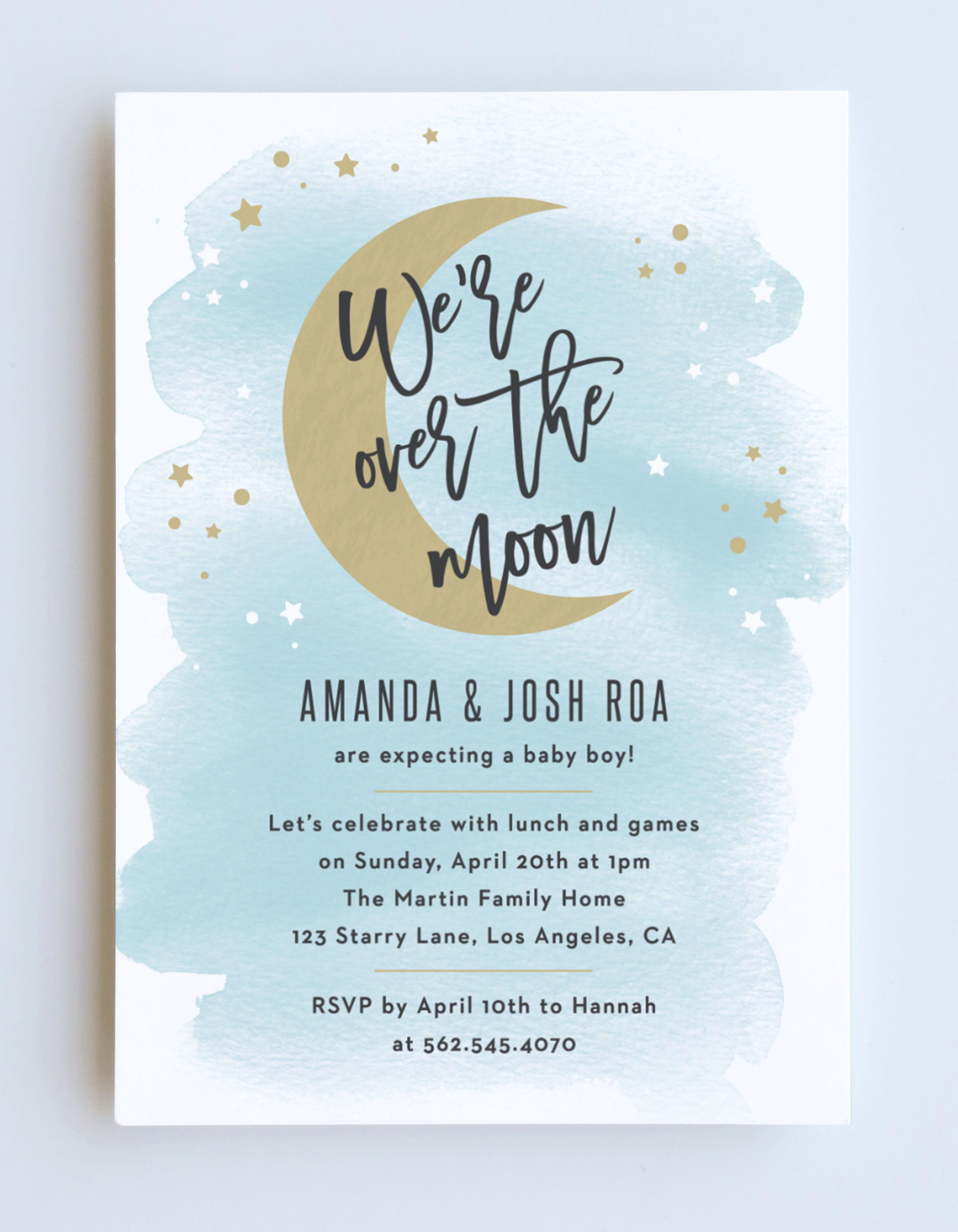Over The Moon Baby Shower Invitations In 2021 Moon Baby Shower Invitation Boy Baby Shower Invitations Printable Blue Baby Shower Invitations