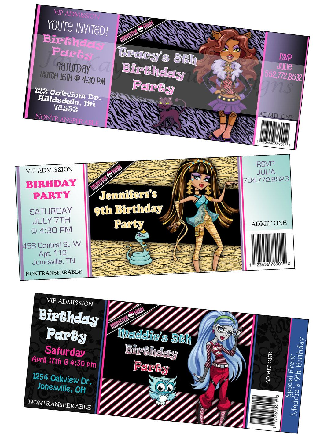 Personalized Monster High ticket style invitations. $0.85, via Etsy ...