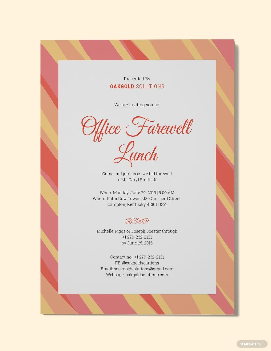 FREE Office Farewell Lunch Invitation Template - Word (DOC)  PSD
