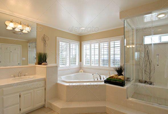 Large Master Bathroom Corner Bathtub With Window Walk In