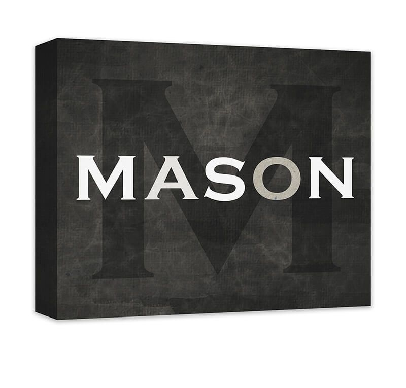 Personalized boys name with monogram canvas wall art