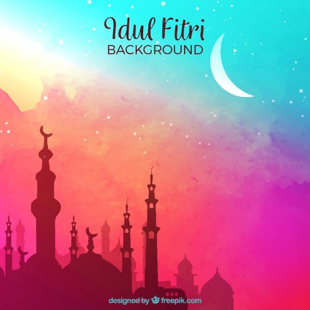 Download Idul Fitri Background With Mosque For Free In