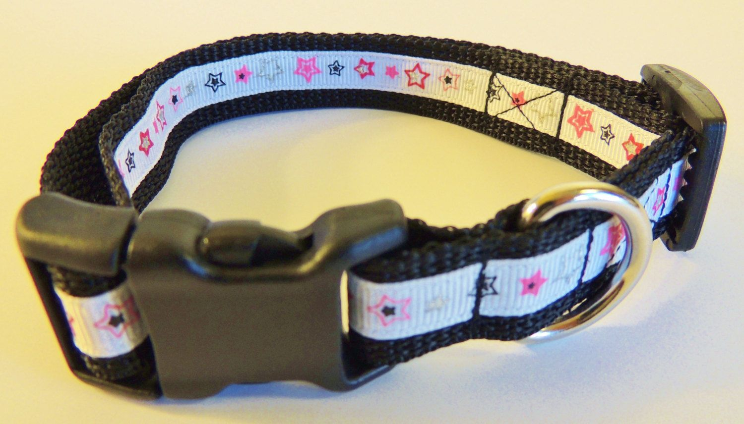 Small Black/White/Pink Stars Dog Collar by WildThingzPetGear on Etsy