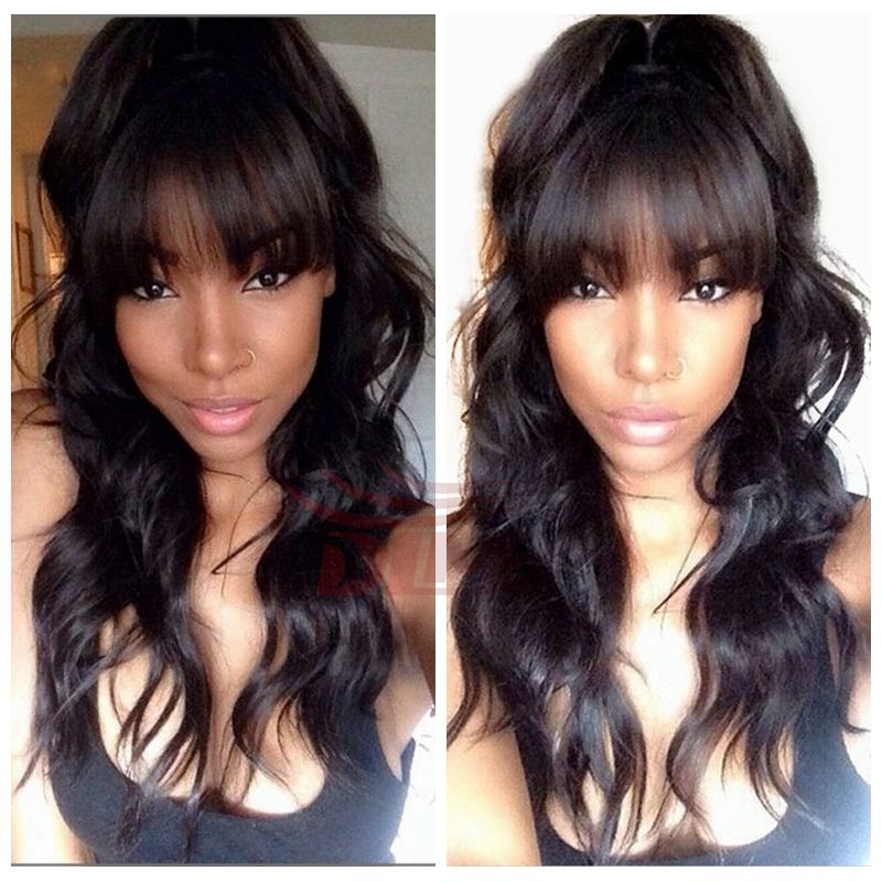 Unprocessed Brazilian Virgin Natural Body Wave Glueless Front Lace Wigs With Full Bang 150 High Density Human Hair Free Shipping