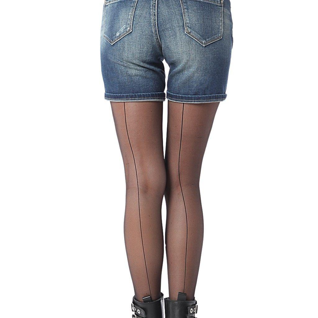 Denim shorts with rips in stretch denim