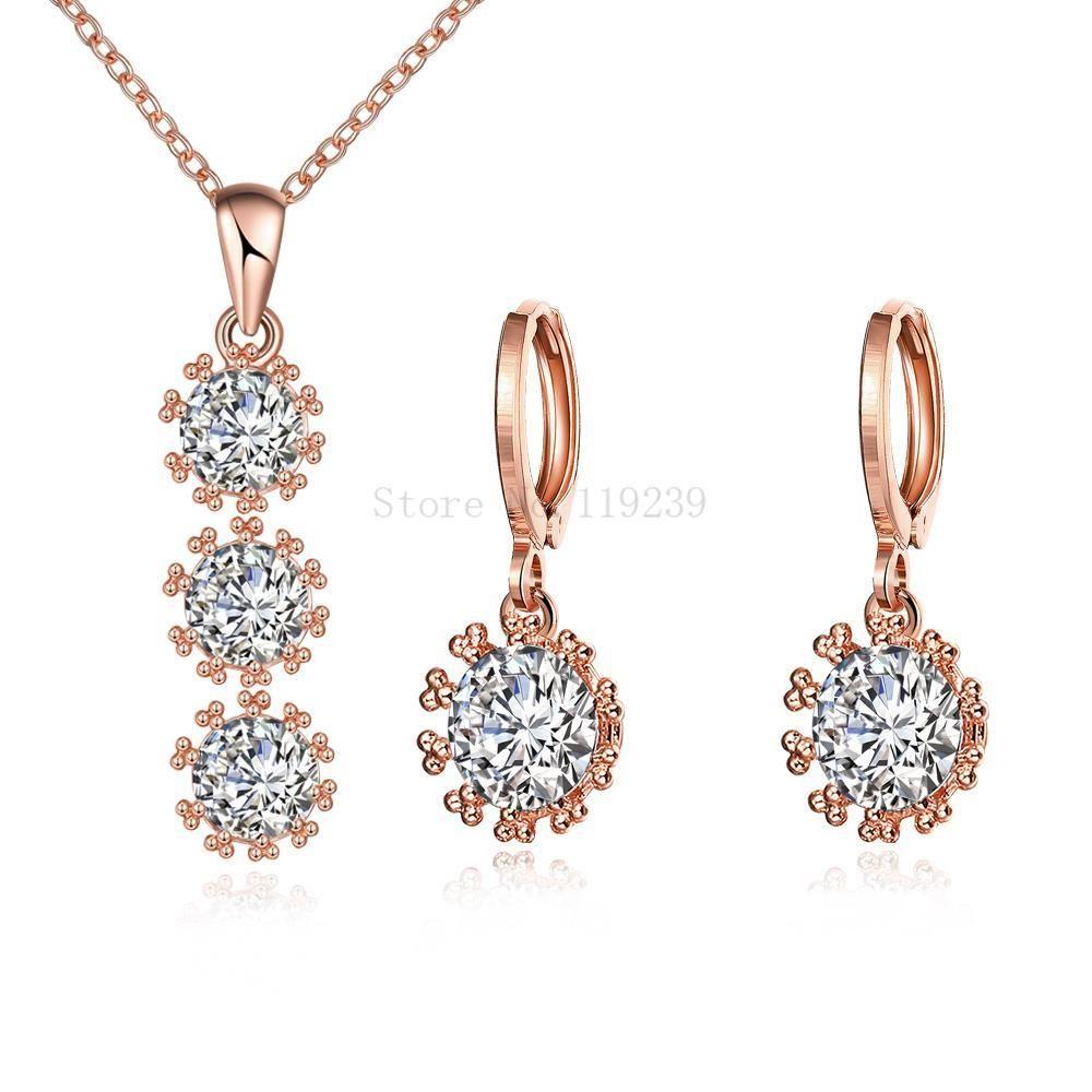 Zsb new fashion rose gold color bijoux cz stone sun shaped long