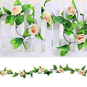 Nesee Garlands Vine, 1 x 8 Ft Artificial Silk Rose Flower Ivy Vine Leaf Garland Wedding Party... #garlandofflowers