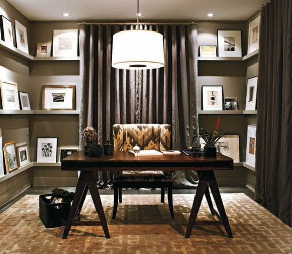 Home Office Designs Living Room Decorating Ideas: Small Office Room Space Comfortable Home Office Design