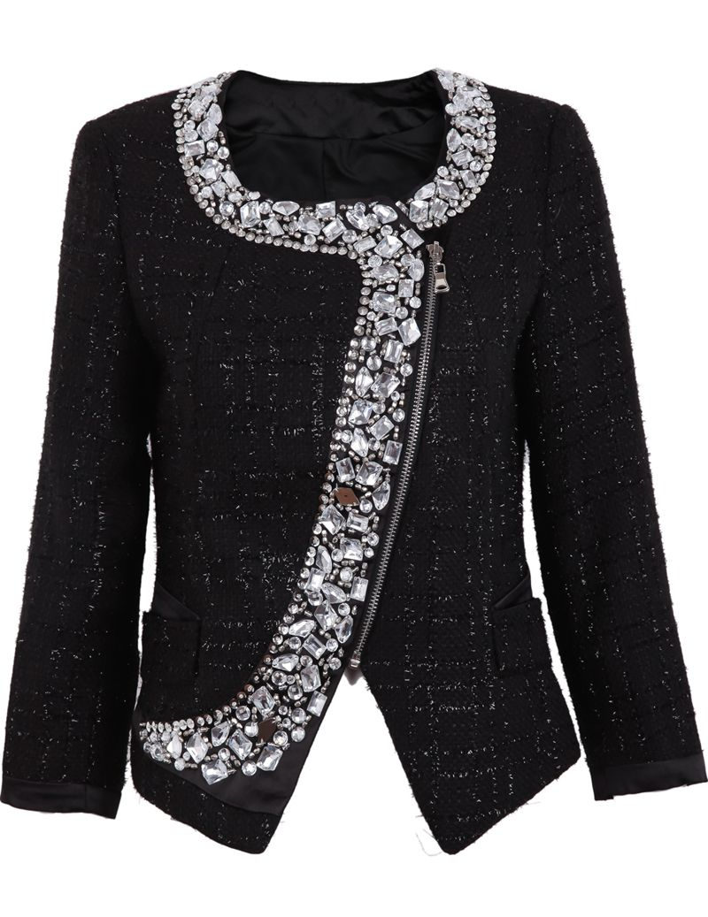 Black long sleeve rhinestone zipper blazer swoon fashion