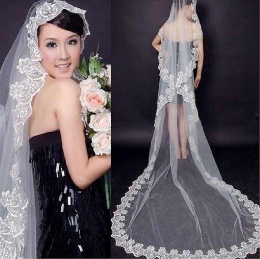 Elegant t white ivory lace edge cathedral length wedding bridal