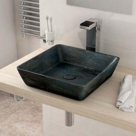Vasque à poser en marbre pierre bleu 40x40 cm, avec bonde ...