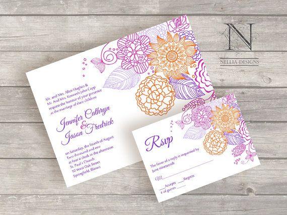 Bright Wedding Invitations: Spring Flower Wedding Invitations Bright Colorful By