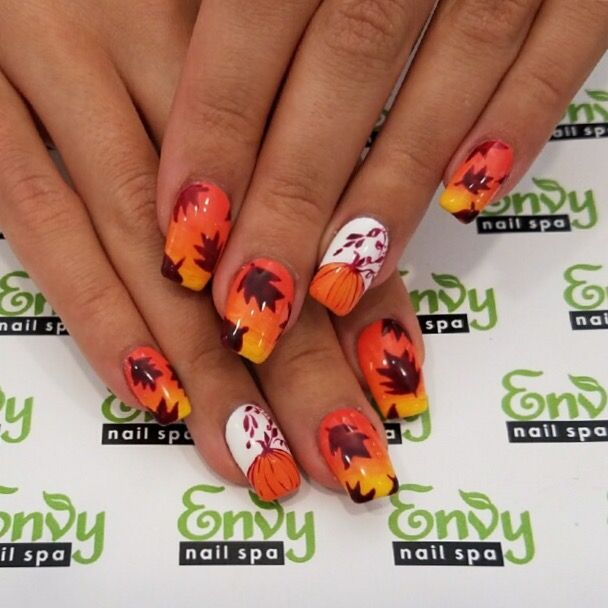 Autumn, Fall, Pumpkin, Falling Leaves, Orange Nails - Envy Nail Spa ...