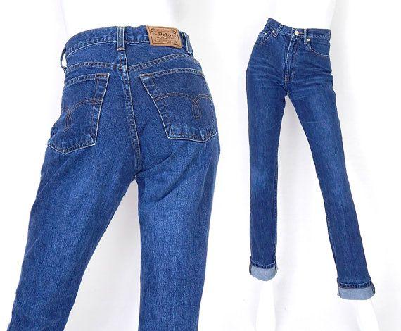 4d457624f5e0d Vintage 80s High Waisted Slim Fit Polo Jeans - Size 6 - Ralph Lauren Faded  Indigo Womens Designer Mom Jeans - 27 Waist