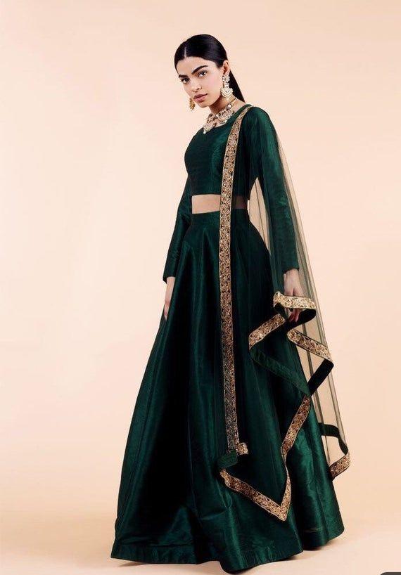 Bottle green silk wedding reception lehenga choli Ghagra upto   Etsy