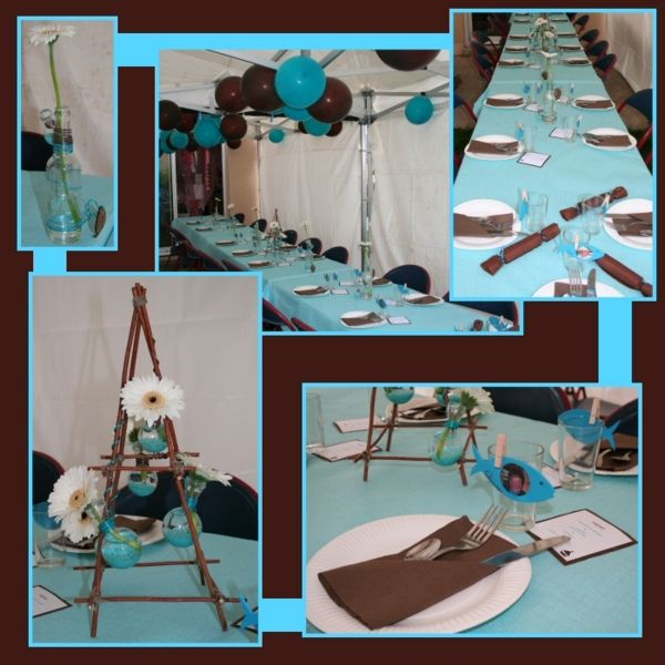 Jolie d coration de table bapt me chocolat et turquoise for Idee deco urne bapteme